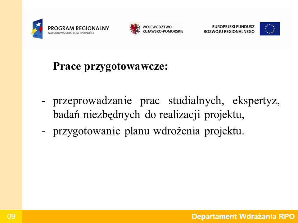 09 Prace przygotowawcze: -przeprowadzanie prac studialnych, ekspertyz, badań niezbędnych do realizacji projektu, -przygotowanie planu wdrożenia projek