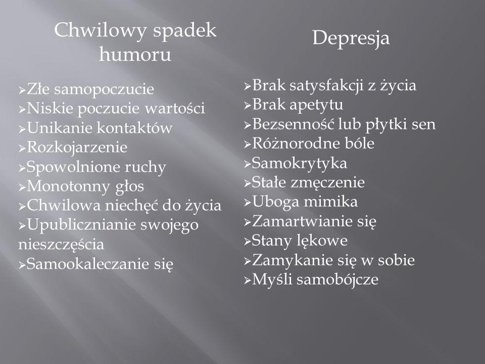 DEPRESJA Depresja jest chorobą psychiczną ze szczególnym rodzajem zaburzeń nastroju i emocji.