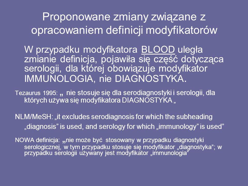 Proponowane zmiany związane z opracowaniem definicji modyfikatorów W przypadku modyfikatora BLOOD uległa zmianie definicja, pojawiła się część dotycząca serologii, dla której obowiązuje modyfikator IMMUNOLOGIA, nie DIAGNOSTYKA.