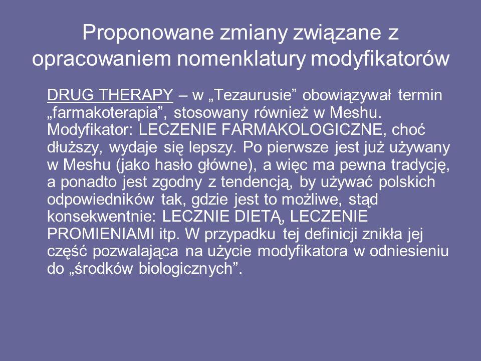 """Proponowane zmiany związane z opracowaniem nomenklatury modyfikatorów DRUG THERAPY – w """"Tezaurusie obowiązywał termin """"farmakoterapia , stosowany również w Meshu."""
