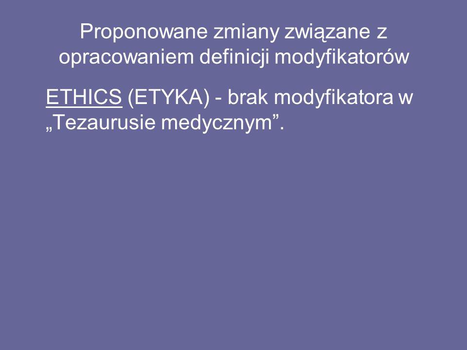 """Proponowane zmiany związane z opracowaniem definicji modyfikatorów ETHICS (ETYKA) - brak modyfikatora w """"Tezaurusie medycznym ."""