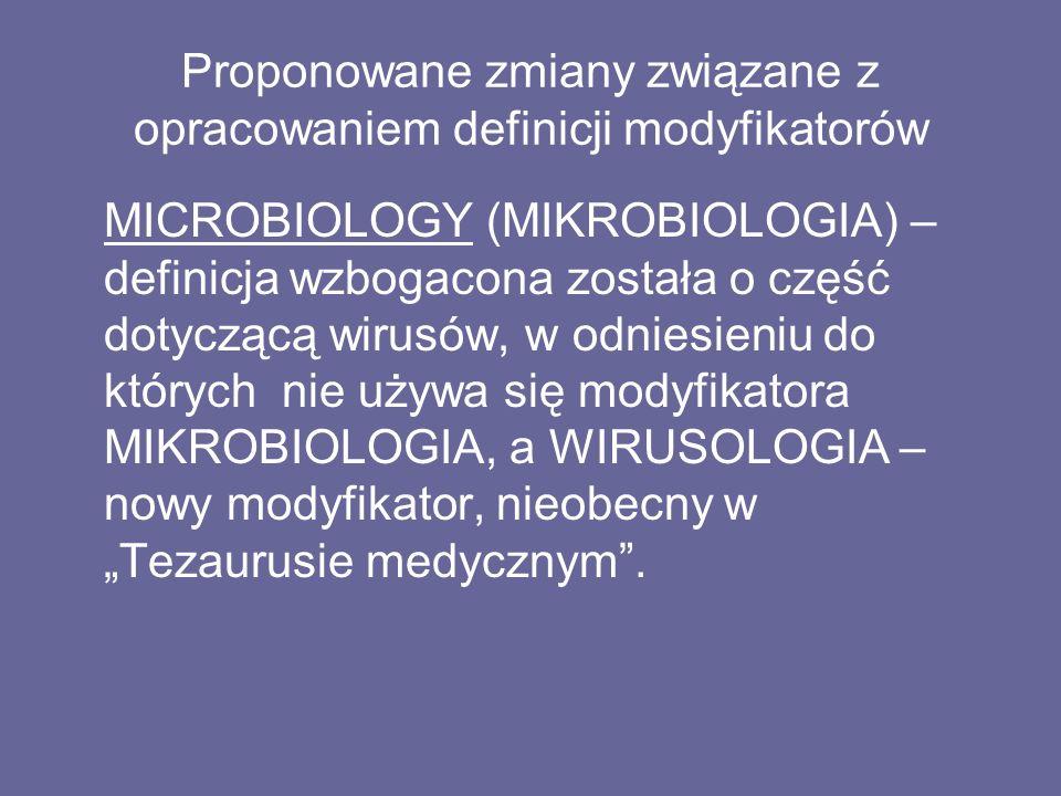 """Proponowane zmiany związane z opracowaniem definicji modyfikatorów MICROBIOLOGY (MIKROBIOLOGIA) – definicja wzbogacona została o część dotyczącą wirusów, w odniesieniu do których nie używa się modyfikatora MIKROBIOLOGIA, a WIRUSOLOGIA – nowy modyfikator, nieobecny w """"Tezaurusie medycznym ."""