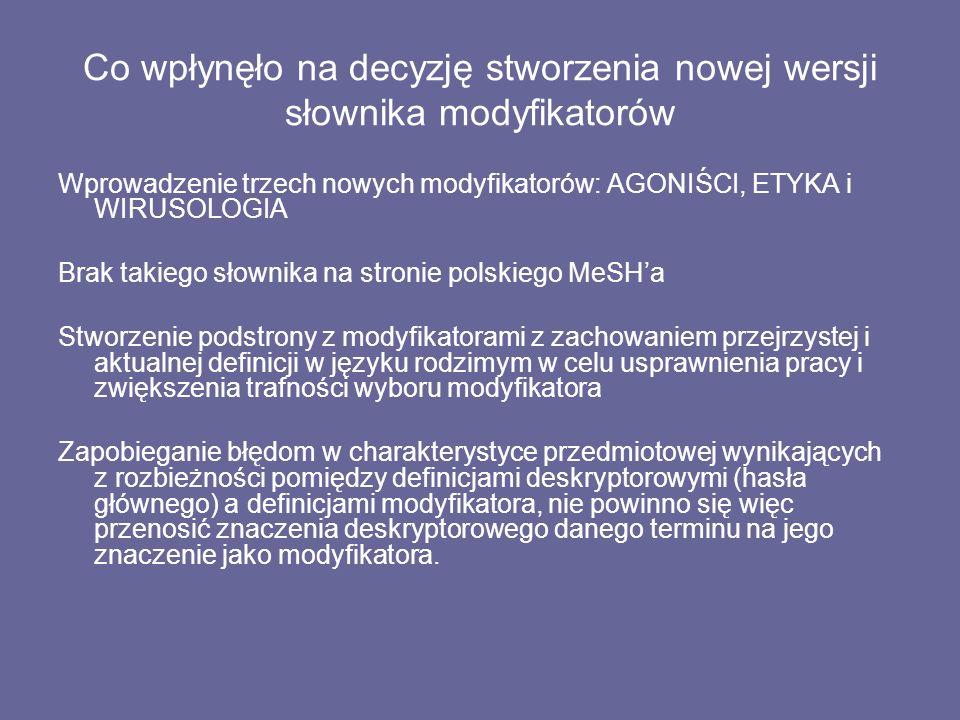 Co wpłynęło na decyzję stworzenia nowej wersji słownika modyfikatorów Wprowadzenie trzech nowych modyfikatorów: AGONIŚCI, ETYKA i WIRUSOLOGIA Brak takiego słownika na stronie polskiego MeSH'a Stworzenie podstrony z modyfikatorami z zachowaniem przejrzystej i aktualnej definicji w języku rodzimym w celu usprawnienia pracy i zwiększenia trafności wyboru modyfikatora Zapobieganie błędom w charakterystyce przedmiotowej wynikających z rozbieżności pomiędzy definicjami deskryptorowymi (hasła głównego) a definicjami modyfikatora, nie powinno się więc przenosić znaczenia deskryptorowego danego terminu na jego znaczenie jako modyfikatora.