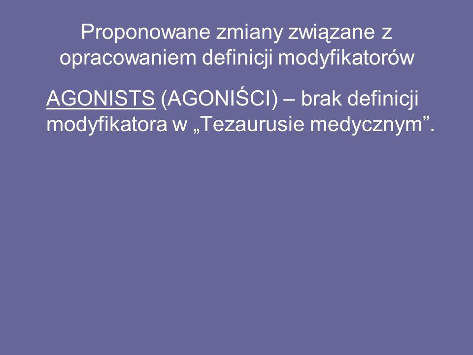 """Proponowane zmiany związane z opracowaniem definicji modyfikatorów AGONISTS (AGONIŚCI) – brak definicji modyfikatora w """"Tezaurusie medycznym ."""