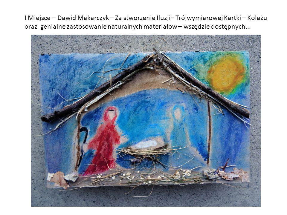 I Miejsce – Dawid Makarczyk – Za stworzenie Iluzji– Trójwymiarowej Kartki – Kolażu oraz genialne zastosowanie naturalnych materiałow – wszędzie dostępnych...