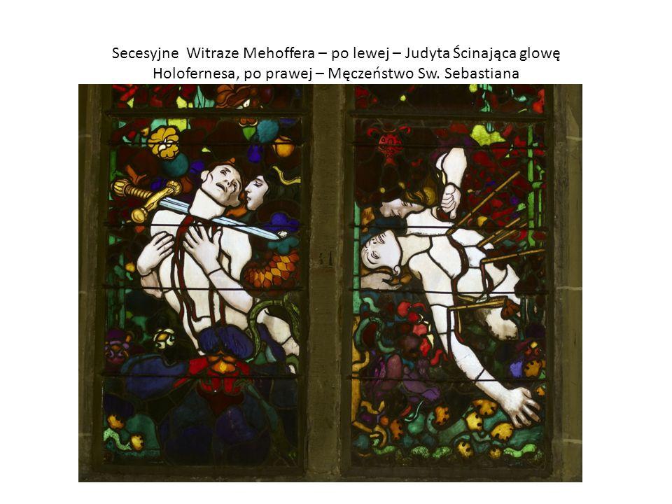 Secesyjne Witraze Mehoffera – po lewej – Judyta Ścinająca glowę Holofernesa, po prawej – Męczeństwo Sw.