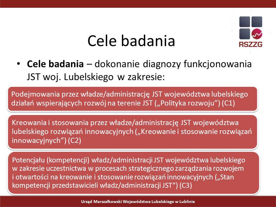 Cele badania Urząd Marszałkowski Województwa Lubelskiego w Lublinie Cele badania – dokonanie diagnozy funkcjonowania JST woj. Lubelskiego w zakresie: