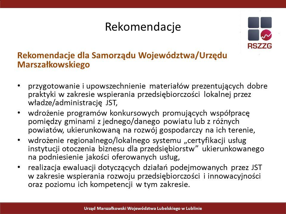 Urząd Marszałkowski Województwa Lubelskiego w Lublinie Rekomendacje Rekomendacje dla Samorządu Województwa/Urzędu Marszałkowskiego przygotowanie i upo