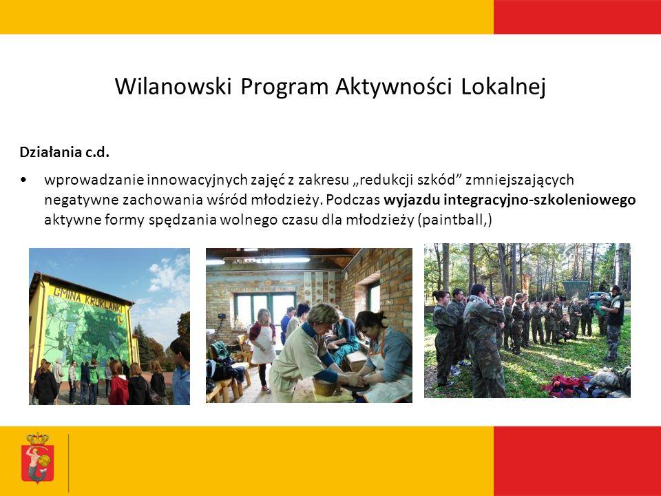 Wilanowski Program Aktywności Lokalnej Działania c.d.