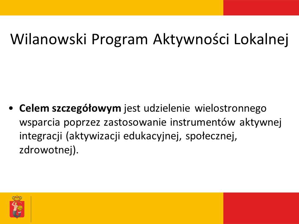 Wilanowski Program Aktywności Lokalnej Celem szczegółowym jest udzielenie wielostronnego wsparcia poprzez zastosowanie instrumentów aktywnej integracji (aktywizacji edukacyjnej, społecznej, zdrowotnej).
