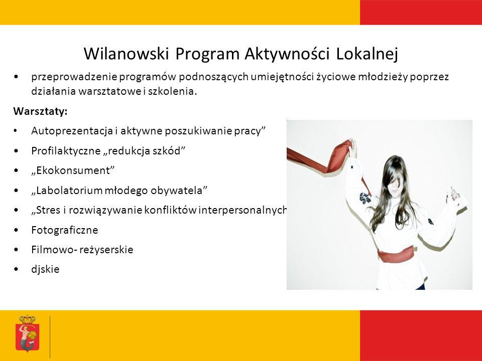 Wilanowski Program Aktywności Lokalnej przeprowadzenie programów podnoszących umiejętności życiowe młodzieży poprzez działania warsztatowe i szkolenia.