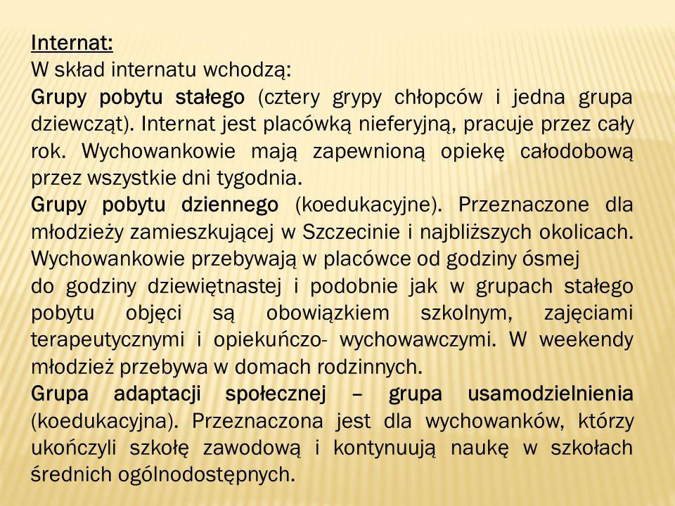 Internat: W skład internatu wchodzą: Grupy pobytu stałego (cztery grypy chłopców i jedna grupa dziewcząt).