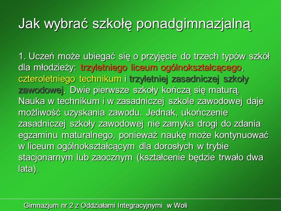 Gimnazjum nr 2 z Oddziałami Integracyjnymi w Woli Jak wybrać szkołę ponadgimnazjalną 1.