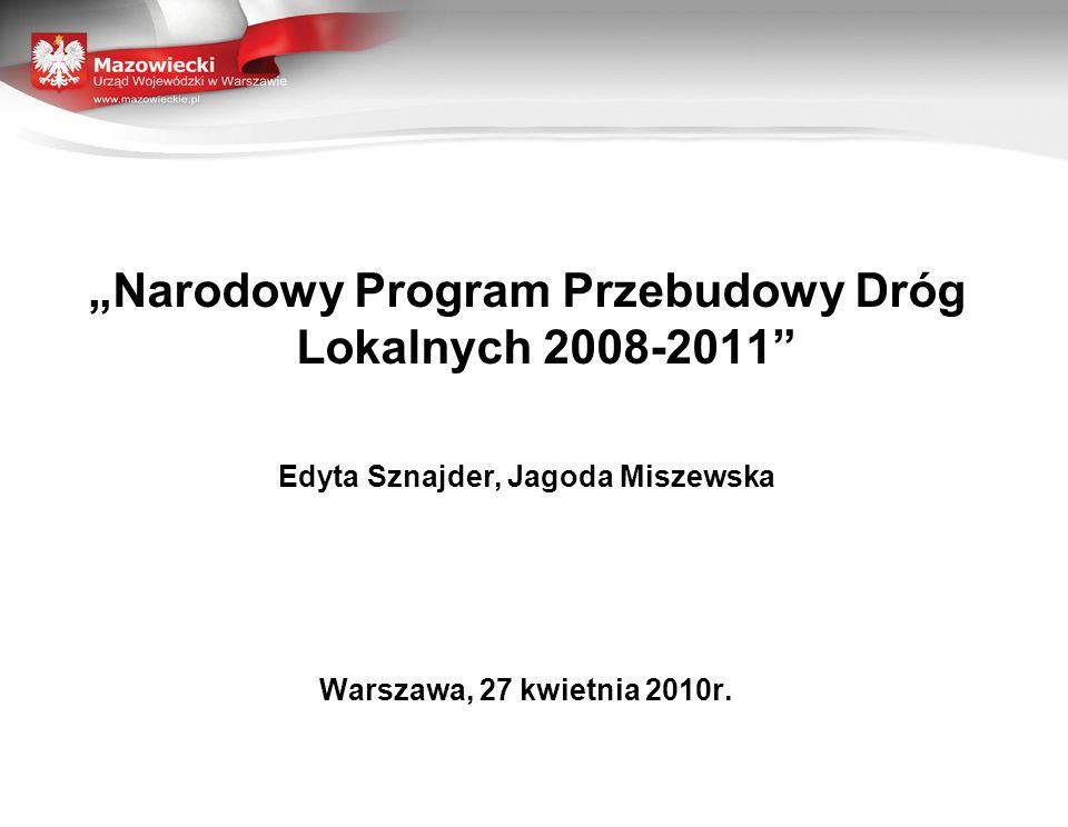 """""""Narodowy Program Przebudowy Dróg Lokalnych 2008-2011 Edyta Sznajder, Jagoda Miszewska Warszawa, 27 kwietnia 2010r."""