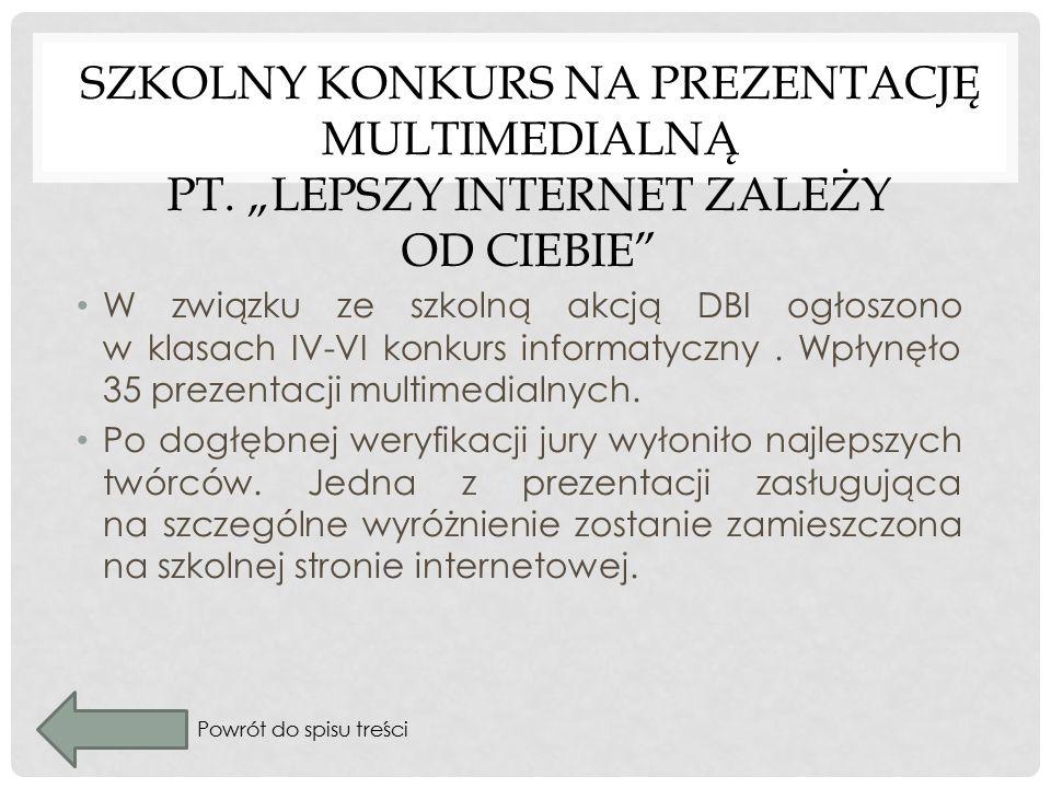 SZKOLNY KONKURS NA PREZENTACJĘ MULTIMEDIALNĄ PT.