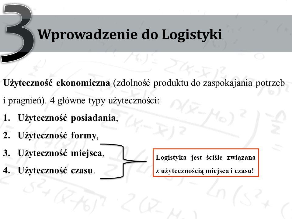 Wprowadzenie do Logistyki Użyteczność ekonomiczna (zdolność produktu do zaspokajania potrzeb i pragnień).