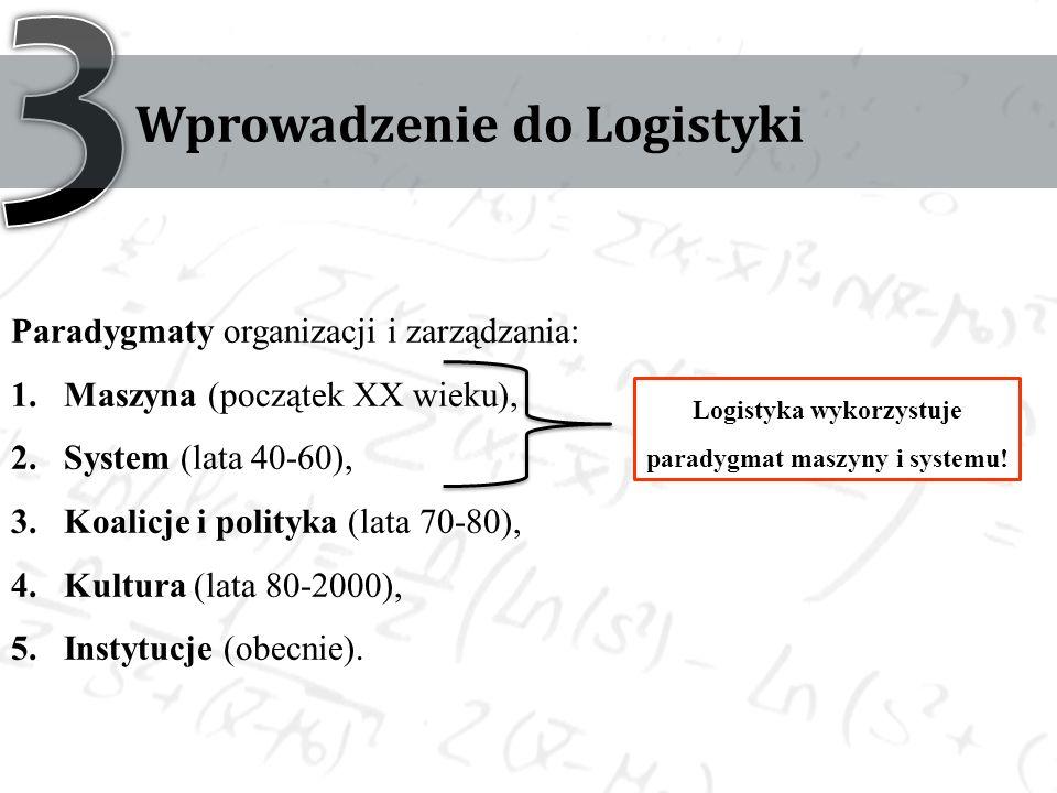 Wprowadzenie do Logistyki Paradygmaty organizacji i zarządzania: 1.Maszyna (początek XX wieku), 2.System (lata 40-60), 3.Koalicje i polityka (lata 70-80), 4.Kultura (lata 80-2000), 5.Instytucje (obecnie).