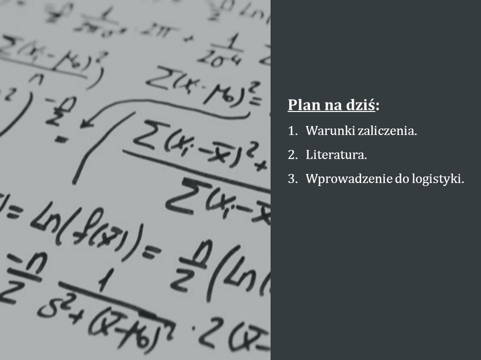 Plan na dziś: 1.Warunki zaliczenia. 2.Literatura. 3.Wprowadzenie do logistyki.