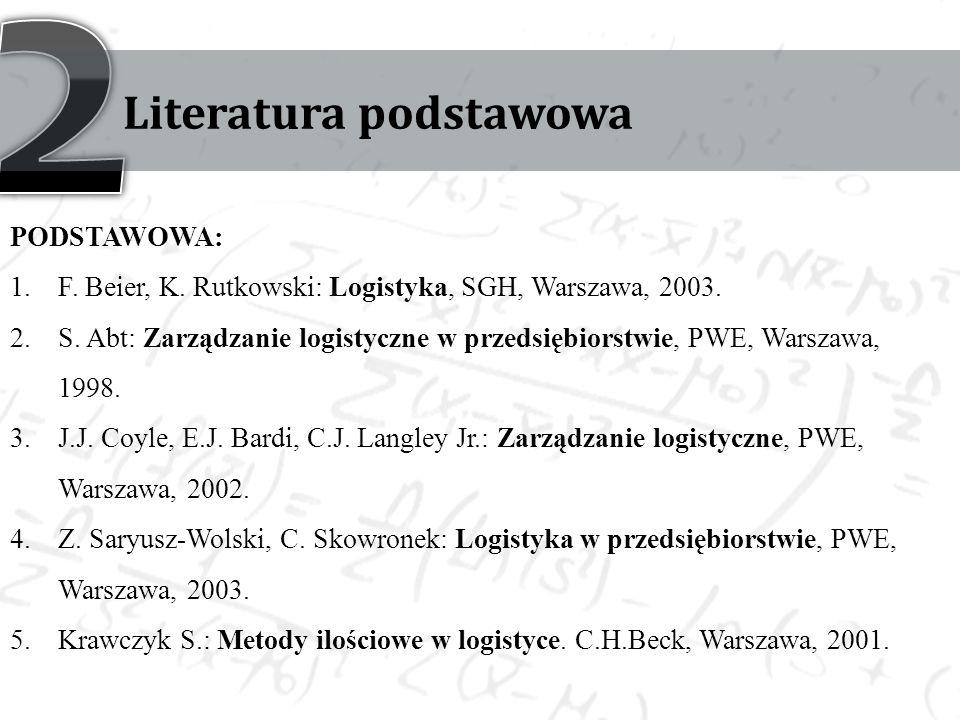 Literatura podstawowa PODSTAWOWA: 1.F. Beier, K. Rutkowski: Logistyka, SGH, Warszawa, 2003.