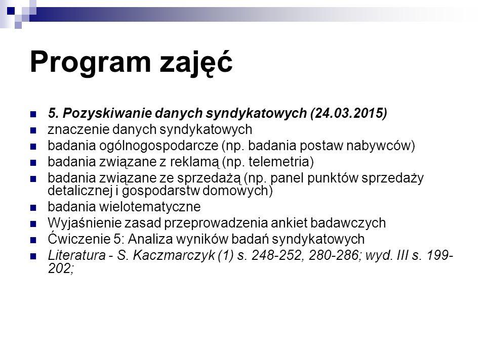 Program zajęć 5. Pozyskiwanie danych syndykatowych (24.03.2015) znaczenie danych syndykatowych badania ogólnogospodarcze (np. badania postaw nabywców)