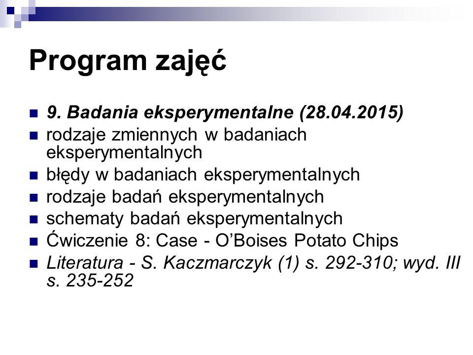 Program zajęć 9. Badania eksperymentalne (28.04.2015) rodzaje zmiennych w badaniach eksperymentalnych błędy w badaniach eksperymentalnych rodzaje bada
