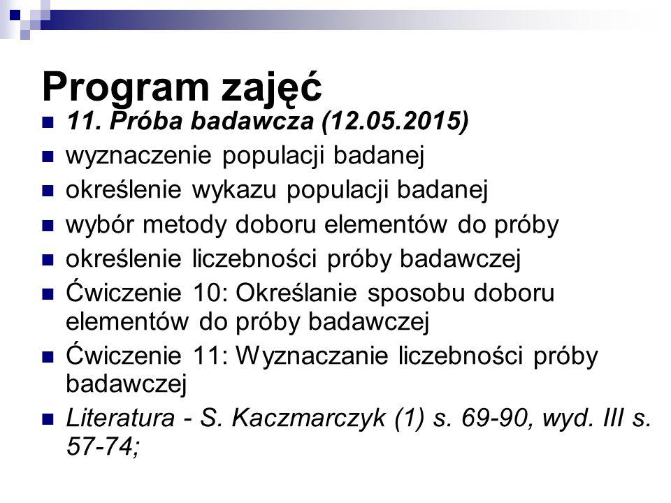 Program zajęć 11.