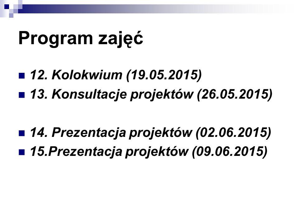 Program zajęć 12. Kolokwium (19.05.2015) 13. Konsultacje projektów (26.05.2015) 14. Prezentacja projektów (02.06.2015) 15.Prezentacja projektów (09.06