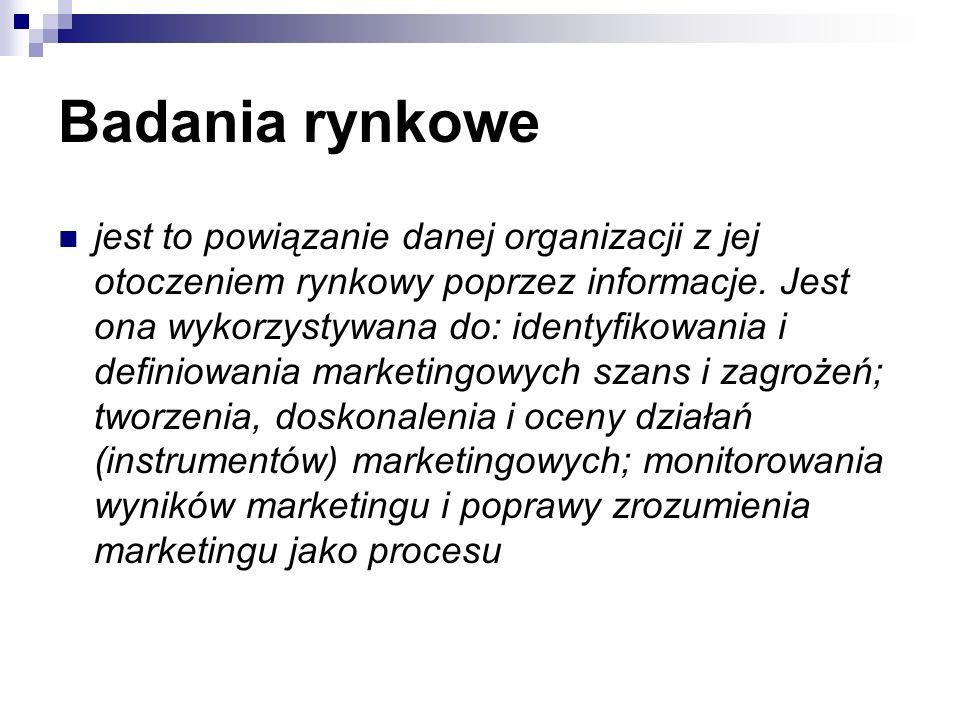Badania rynkowe jest to powiązanie danej organizacji z jej otoczeniem rynkowy poprzez informacje.