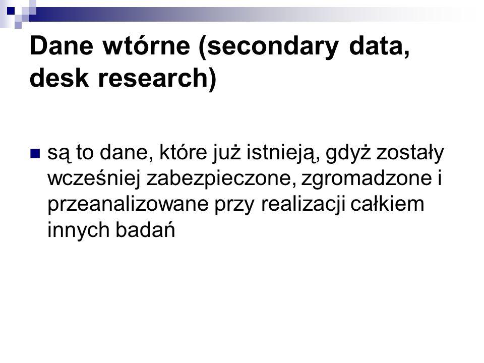 Dane wtórne (secondary data, desk research) są to dane, które już istnieją, gdyż zostały wcześniej zabezpieczone, zgromadzone i przeanalizowane przy r