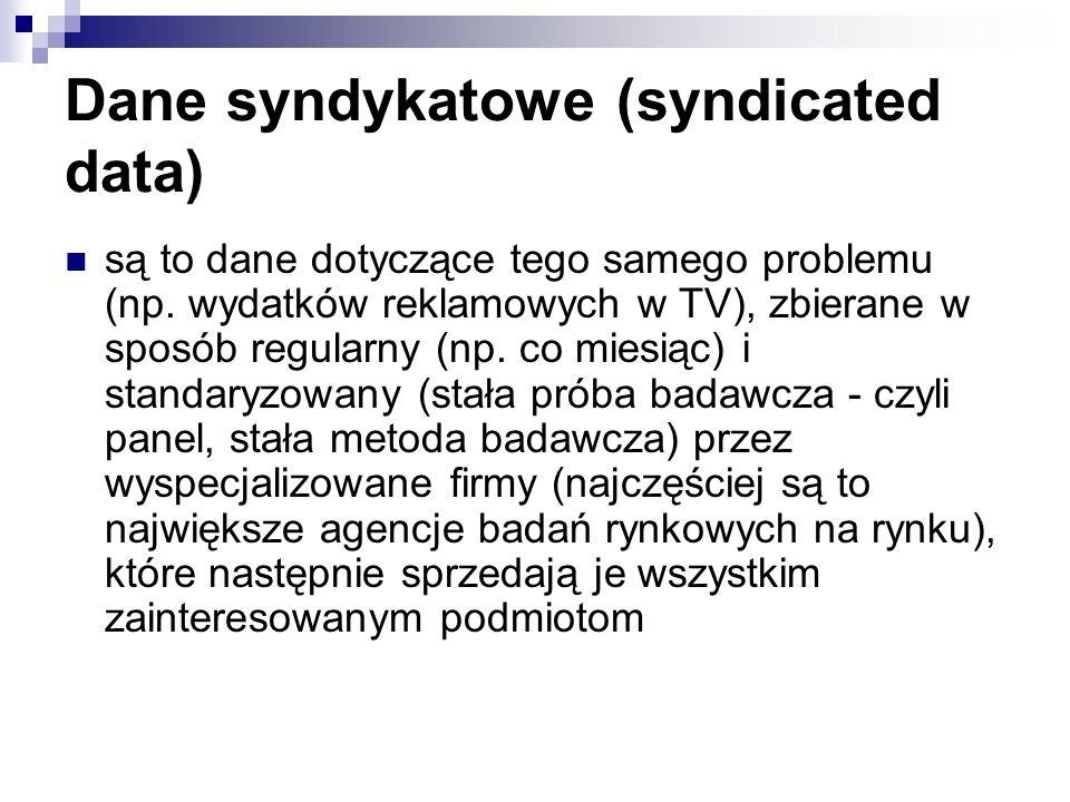 Dane syndykatowe (syndicated data) są to dane dotyczące tego samego problemu (np.