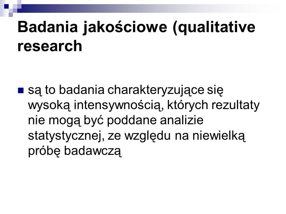 Badania jakościowe (qualitative research są to badania charakteryzujące się wysoką intensywnością, których rezultaty nie mogą być poddane analizie statystycznej, ze względu na niewielką próbę badawczą