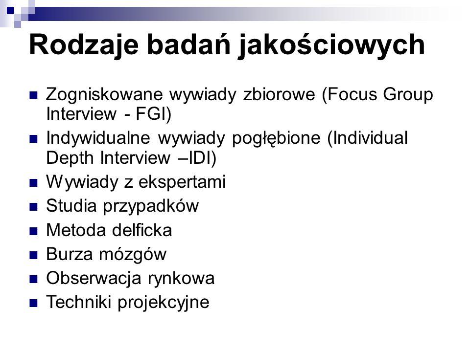 Rodzaje badań jakościowych Zogniskowane wywiady zbiorowe (Focus Group Interview - FGI) Indywidualne wywiady pogłębione (Individual Depth Interview –IDI) Wywiady z ekspertami Studia przypadków Metoda delficka Burza mózgów Obserwacja rynkowa Techniki projekcyjne
