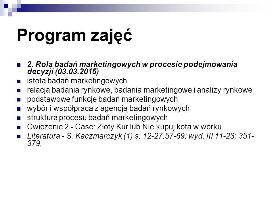 Program zajęć 2. Rola badań marketingowych w procesie podejmowania decyzji (03.03.2015) istota badań marketingowych relacja badania rynkowe, badania m
