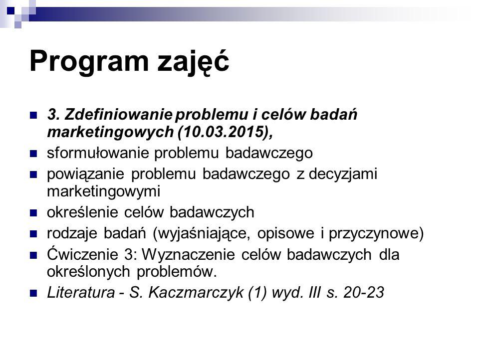 Program zajęć 3. Zdefiniowanie problemu i celów badań marketingowych (10.03.2015), sformułowanie problemu badawczego powiązanie problemu badawczego z