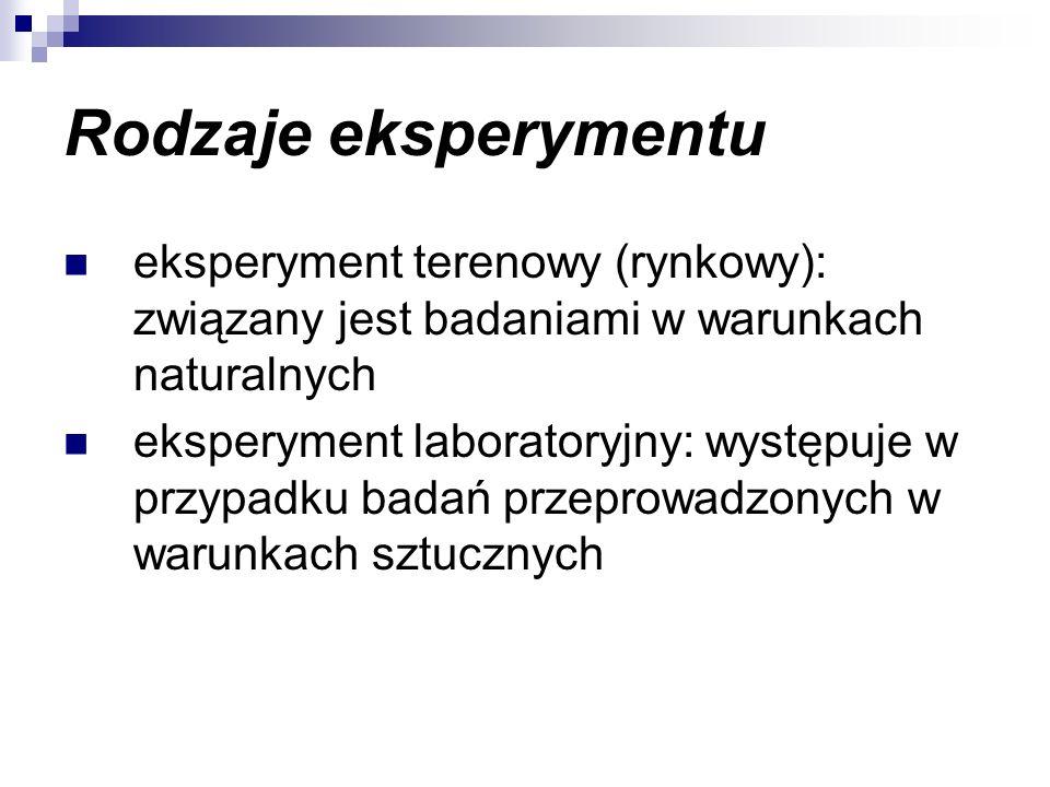 Rodzaje eksperymentu eksperyment terenowy (rynkowy): związany jest badaniami w warunkach naturalnych eksperyment laboratoryjny: występuje w przypadku badań przeprowadzonych w warunkach sztucznych