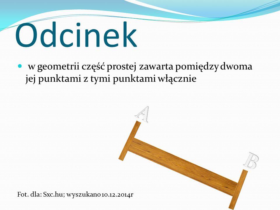 Odcinek w geometrii część prostej zawarta pomiędzy dwoma jej punktami z tymi punktami włącznie Fot.