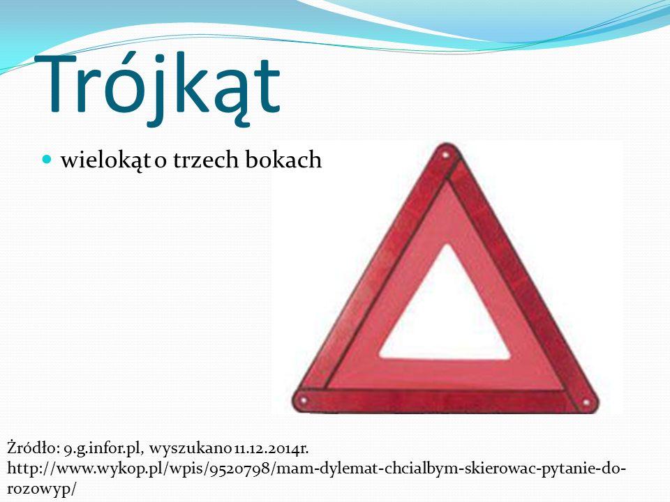 Trójkąt wielokąt o trzech bokach Żródło: 9.g.infor.pl, wyszukano 11.12.2014r.