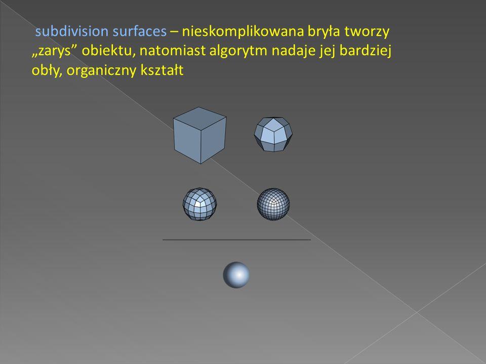 CGS - definiowanie brył przez operacje boolowskie (suma, różnica, iloczyn) na innych bryłach.