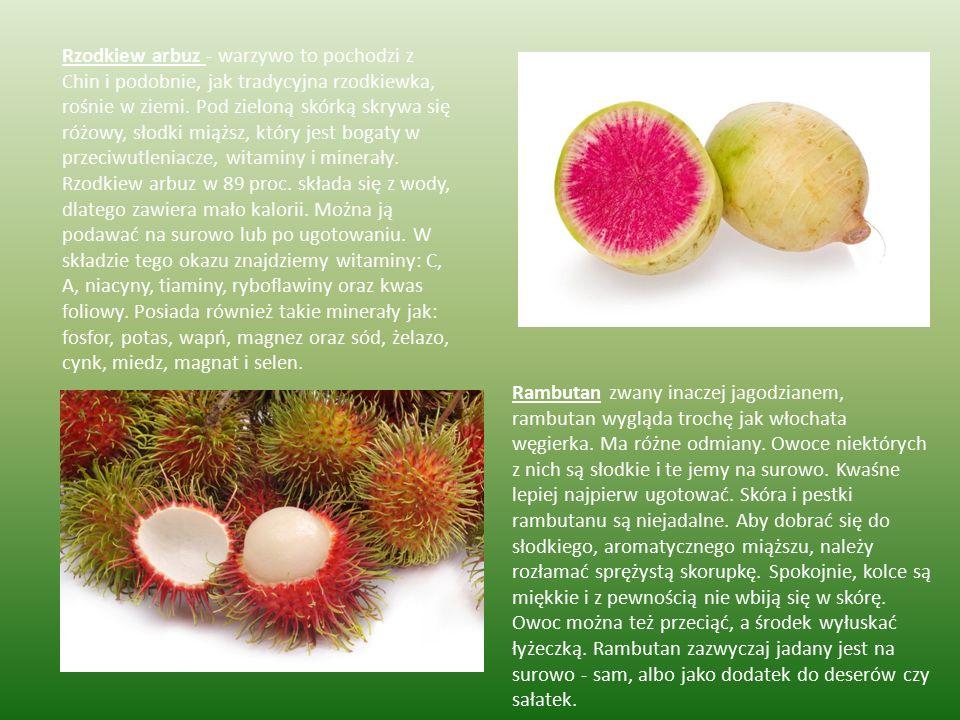 Rzodkiew arbuz - warzywo to pochodzi z Chin i podobnie, jak tradycyjna rzodkiewka, rośnie w ziemi. Pod zieloną skórką skrywa się różowy, słodki miąższ