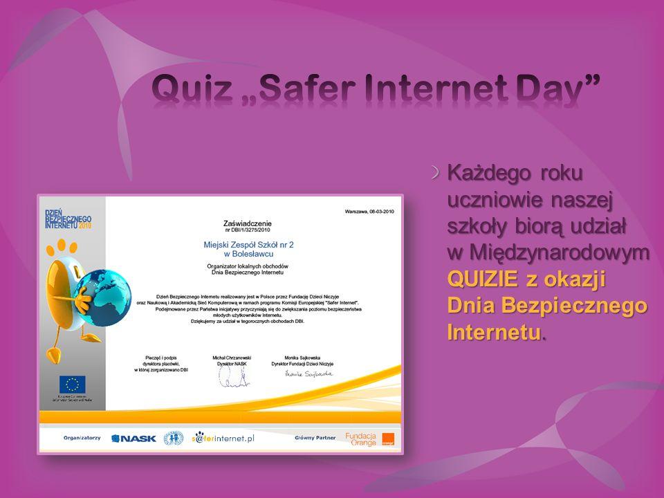Polski Internet 2011 Strona szkoły i strona biblioteki szkolnej otrzymały wyróżnienie w ogólnopolskim konkursie POLSKI INTERNET na Najlepszą Stronę Internetową 2011 roku.