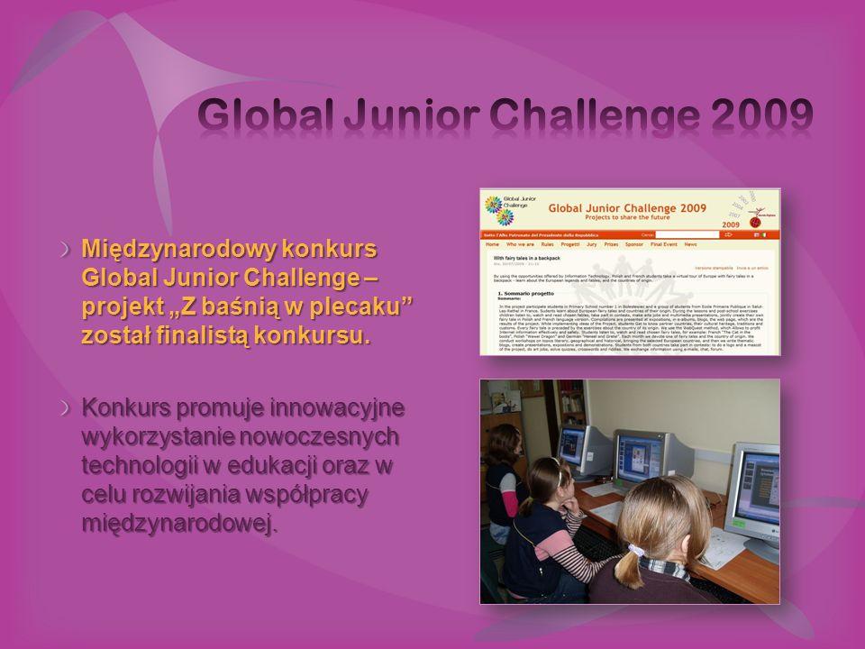 """Międzynarodowy konkurs Global Junior Challenge – projekt """"Z baśnią w plecaku"""" został finalistą konkursu. Konkurs promuje innowacyjne wykorzystanie now"""