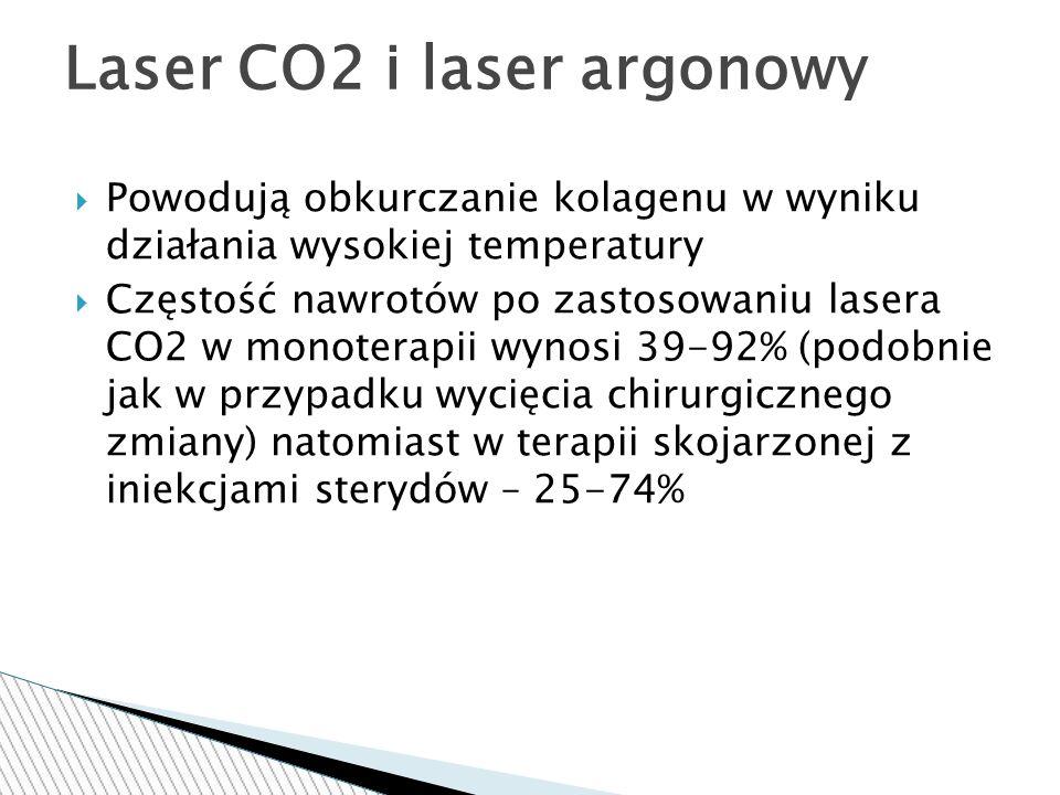  Powodują obkurczanie kolagenu w wyniku działania wysokiej temperatury  Częstość nawrotów po zastosowaniu lasera CO2 w monoterapii wynosi 39-92% (podobnie jak w przypadku wycięcia chirurgicznego zmiany) natomiast w terapii skojarzonej z iniekcjami sterydów – 25-74% Laser CO2 i laser argonowy