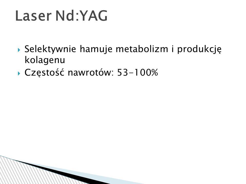  Selektywnie hamuje metabolizm i produkcję kolagenu  Częstość nawrotów: 53-100% Laser Nd:YAG