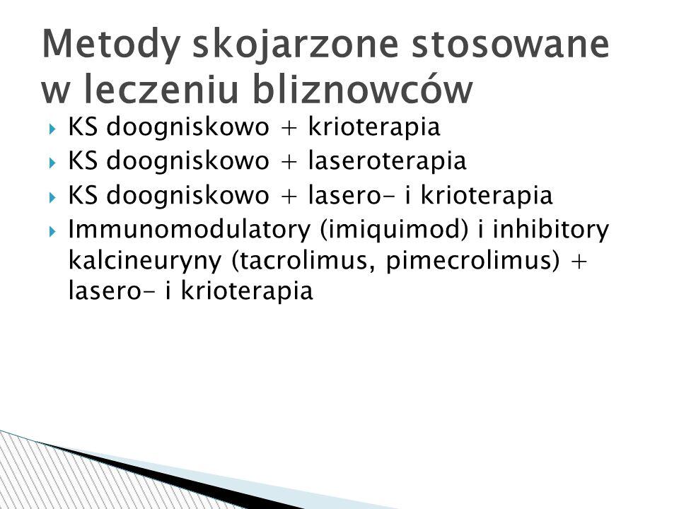  KS doogniskowo + krioterapia  KS doogniskowo + laseroterapia  KS doogniskowo + lasero- i krioterapia  Immunomodulatory (imiquimod) i inhibitory kalcineuryny (tacrolimus, pimecrolimus) + lasero- i krioterapia Metody skojarzone stosowane w leczeniu bliznowców