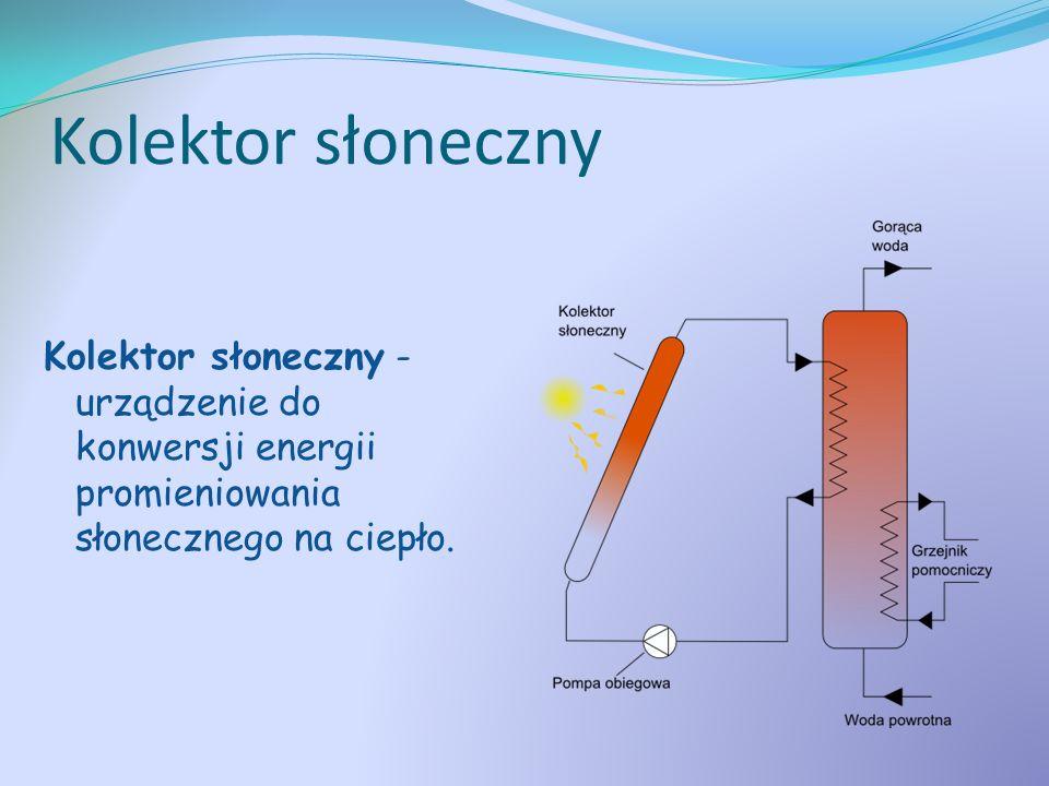 Kolektor słoneczny Kolektor słoneczny - urządzenie do konwersji energii promieniowania słonecznego na ciepło.