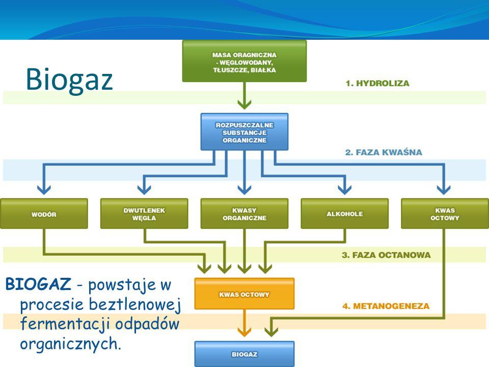Biogaz BIOGAZ - powstaje w procesie beztlenowej fermentacji odpadów organicznych.