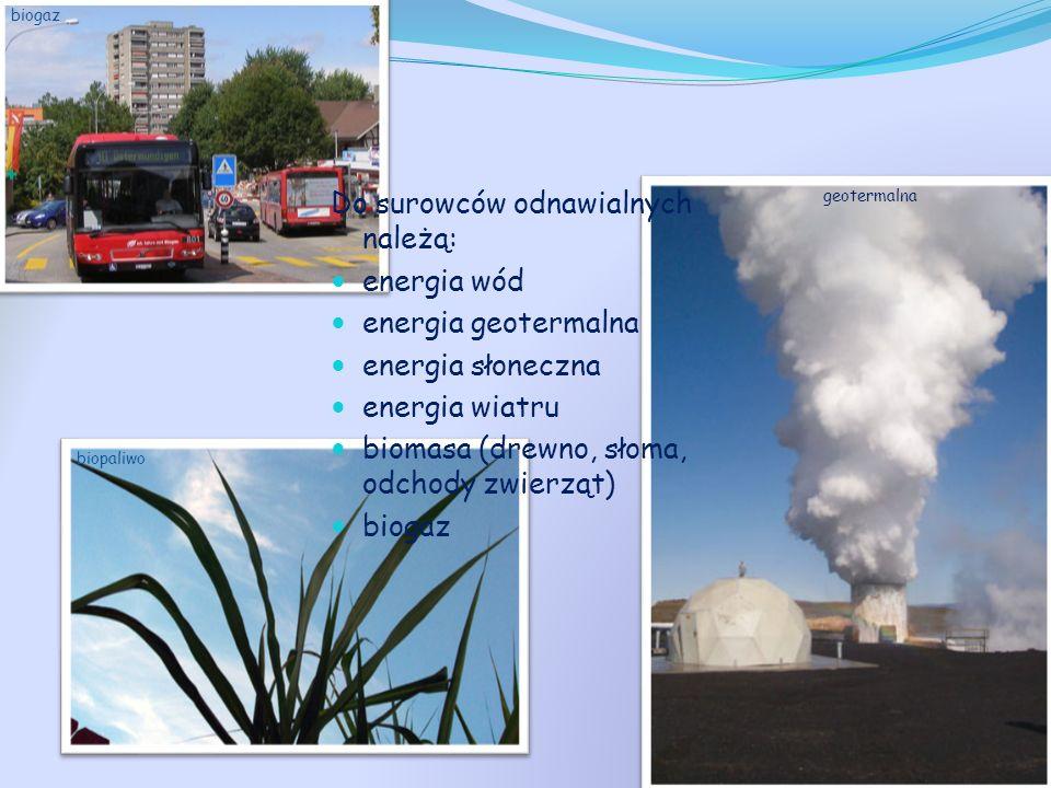 Do surowców odnawialnych należą: energia wód energia geotermalna energia słoneczna energia wiatru biomasa (drewno, słoma, odchody zwierząt) biogaz bio