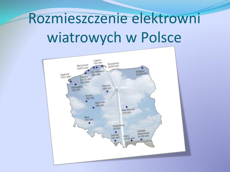 Rozmieszczenie elektrowni wiatrowych w Polsce