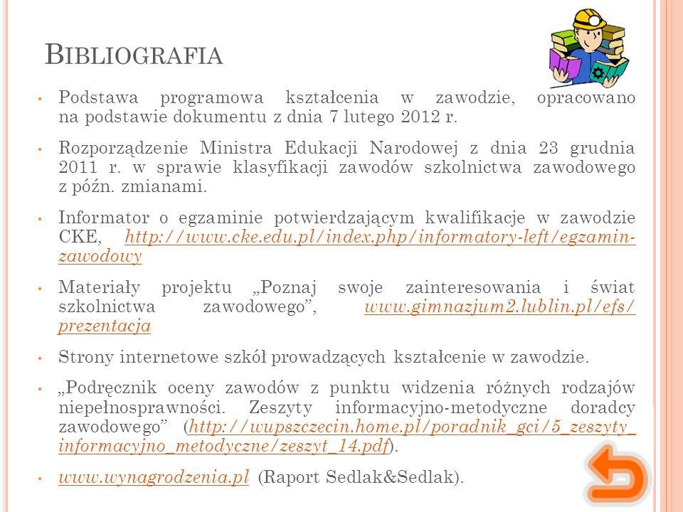 B IBLIOGRAFIA Podstawa programowa kształcenia w zawodzie, opracowano na podstawie dokumentu z dnia 7 lutego 2012 r.