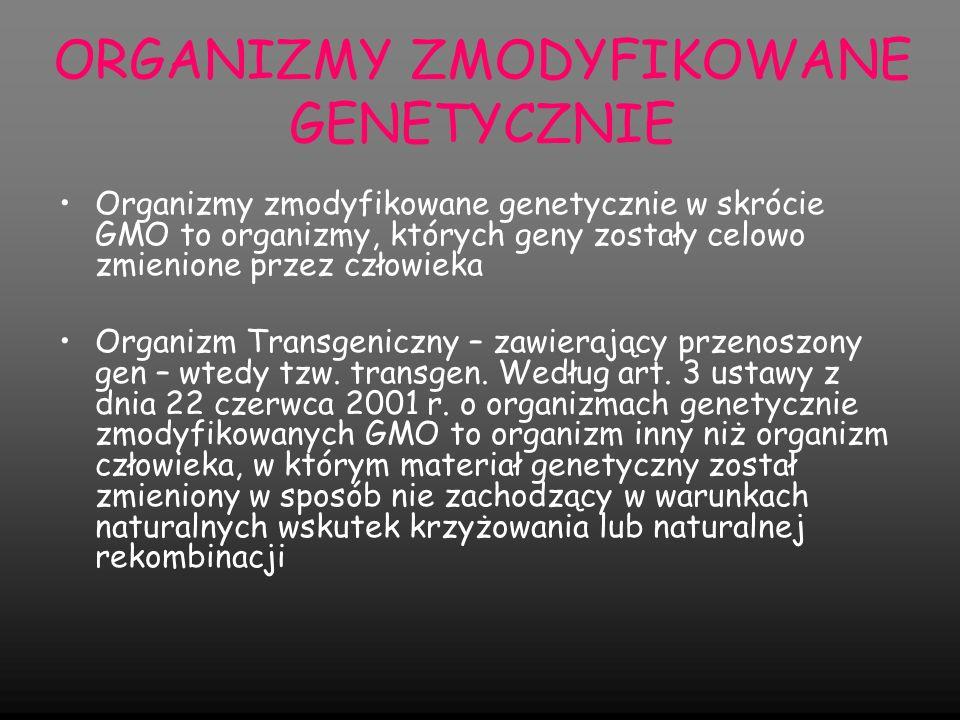 ORGANIZMY ZMODYFIKOWANE GENETYCZNIE Główne zastosowania modyfikacji: zmodyfikowane mikroorganizmy są używane do produkcji pewnych substancji chemicznych np.